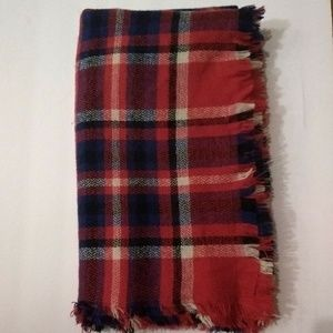 Large Plaid Tartan Warm Red White & Blue Scarf